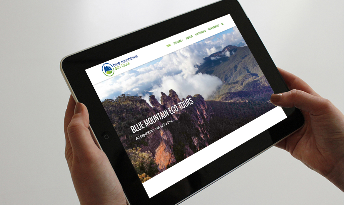 Blue Mountains Eco Tours Website on Tablet
