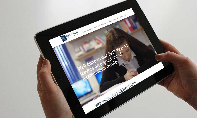 Chadwick High School Website on Tablet