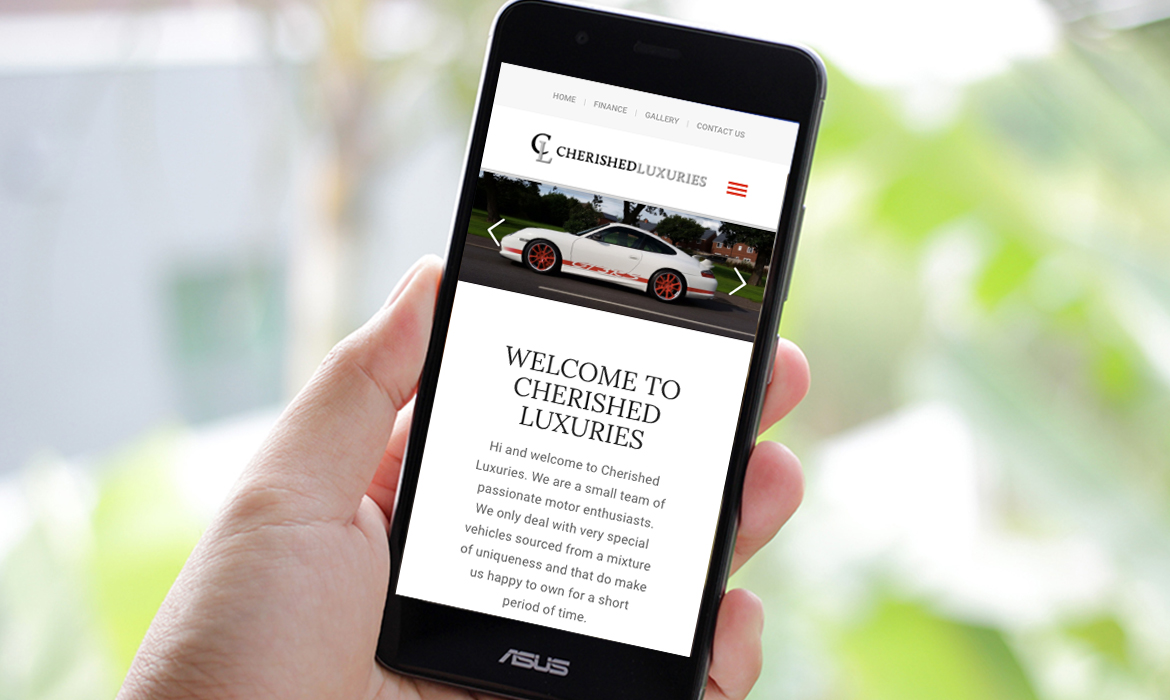 Cherished Luxuries Website on Mobile