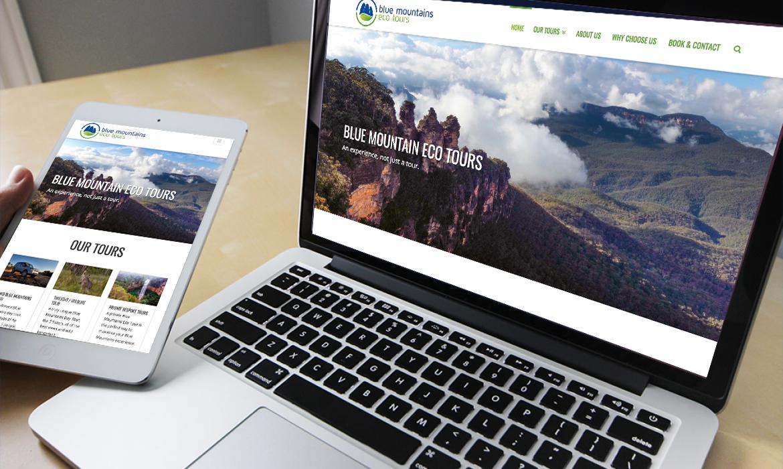 Blue Mountains Eco Tours Website on Desktop