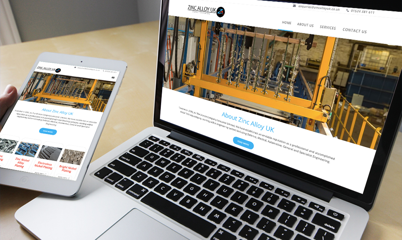 Zinc Alloy UK Website on Desktop
