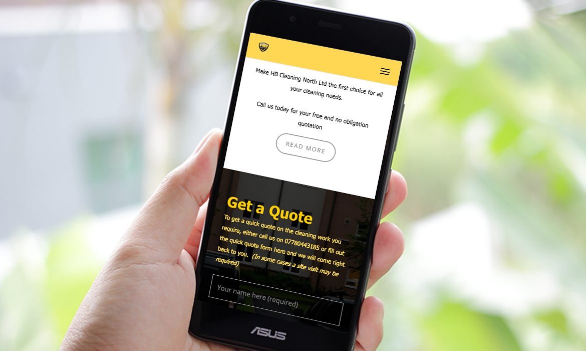 HB Cleaning Website on Mobile