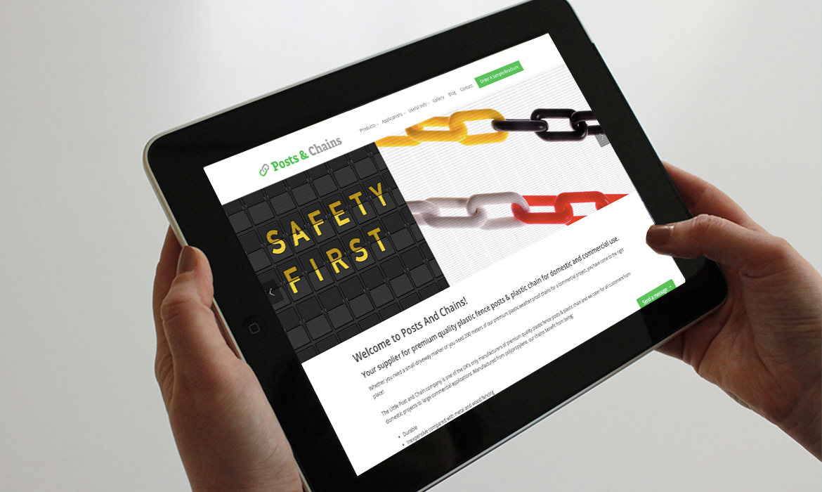 Posts & Chains Website on Tablet