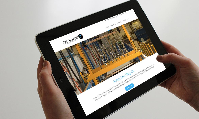 Zinc Alloy UK Website on Tablet