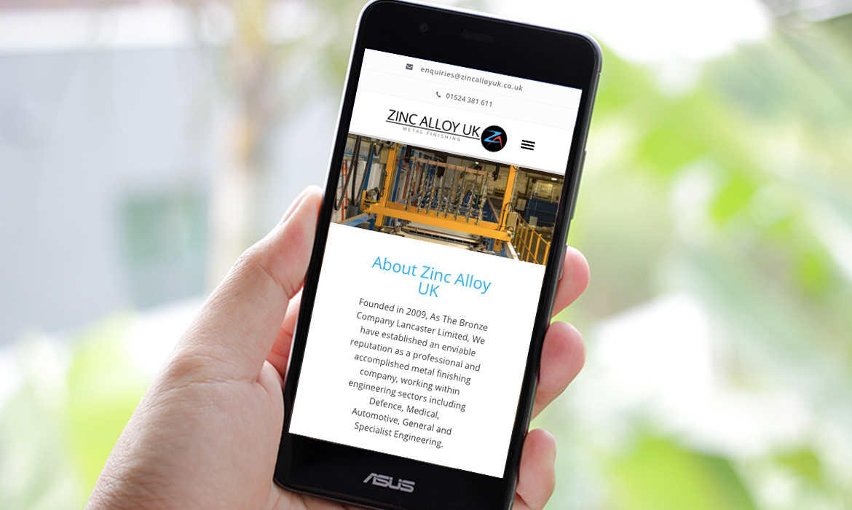 Zinc Alloy UK Website on Mobile